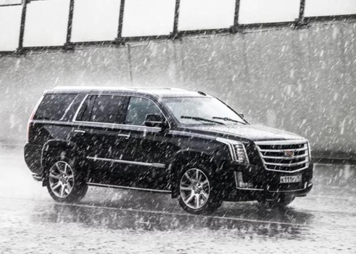 Vehicle in heavy rain